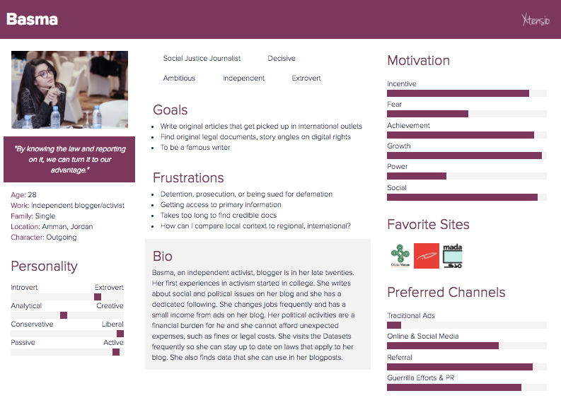 A persona created to represent a user of the Arab Digital Rights Datasets at IFF in March, 2017.
